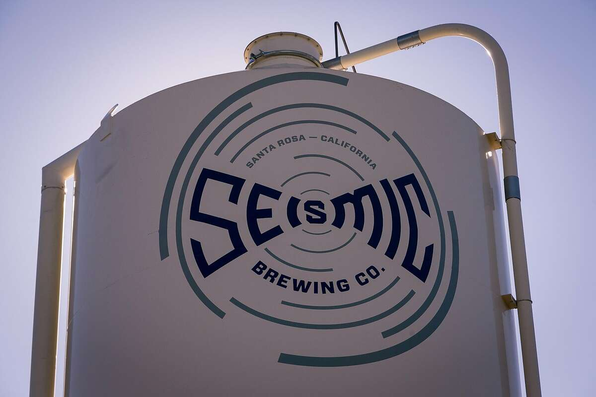 The logo of the Seismic Brewery in Santa Rosa, Calif. is seen on December 1st, 2016.
