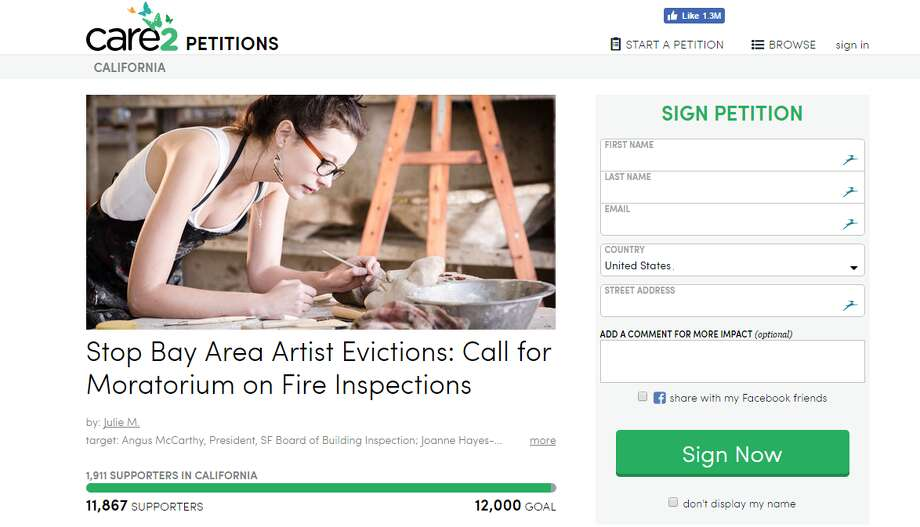 "A Care2 petition called ""Stop Bay Area Artist Evictions: Call for Moratorium on Fire Inspections"" Photo: Care2"