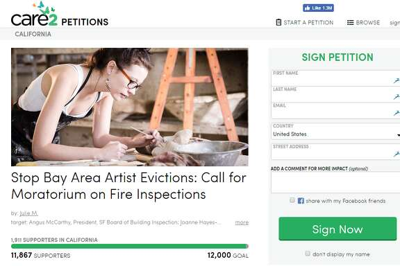 """A Care2 petition called """"Stop Bay Area Artist Evictions: Call for Moratorium on Fire Inspections"""""""