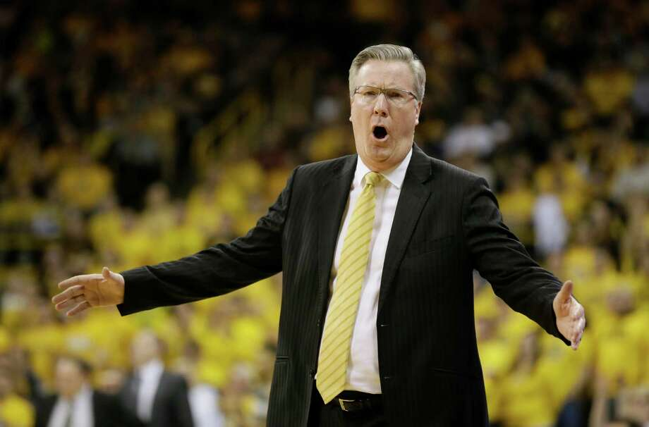 Iowa head coach Fran McCaffery reacts to a call during the first half of an NCAA college basketball game against Michigan State, Tuesday, Dec. 29, 2015, in Iowa City, Iowa. (AP Photo/Charlie Neibergall) ORG XMIT: IACN105 Photo: Charlie Neibergall / AP