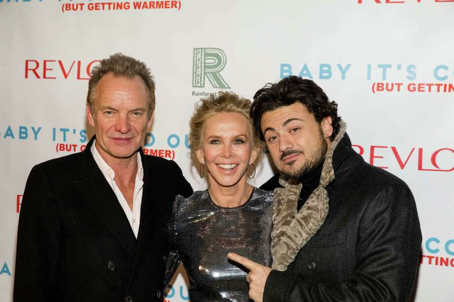 "Sting, from left, Trudie Styler, and Vittorio Grigolo attend ""Baby It's Cold Outside,"" the 2016 Revlon Holiday Concert for The Rainforest Fund Gala at The Essex House on Wednesday, Dec. 14, 2016, in New York. (Photo by Michael Zorn/Invision/AP) ORG XMIT: NYMZ109 Photo: Michael Zorn / 2016 Invision"