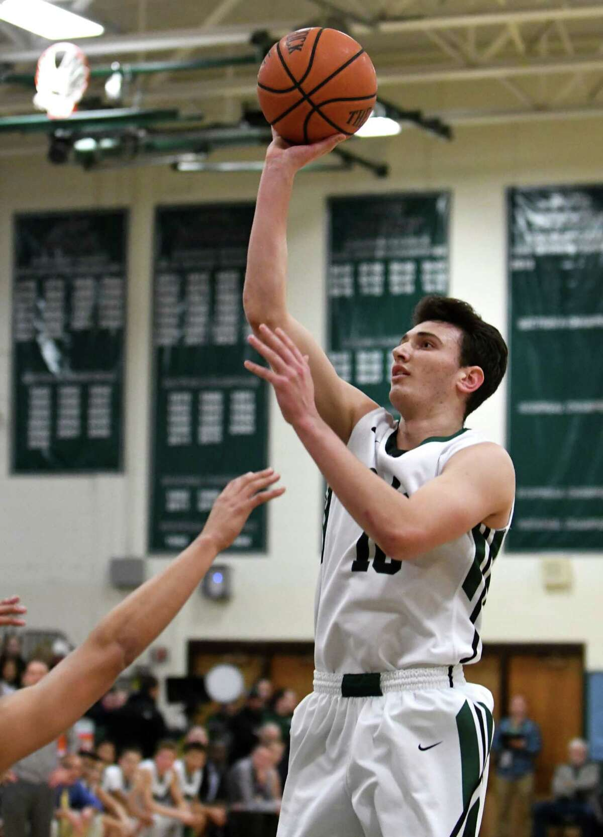Shen's Luke Hicks puts up a shot during their boy's high school basketball game against Saratoga on Wednesday Dec. 21, 2016 in Clifton Park, N.Y. (Michael P. Farrell/Times Union)
