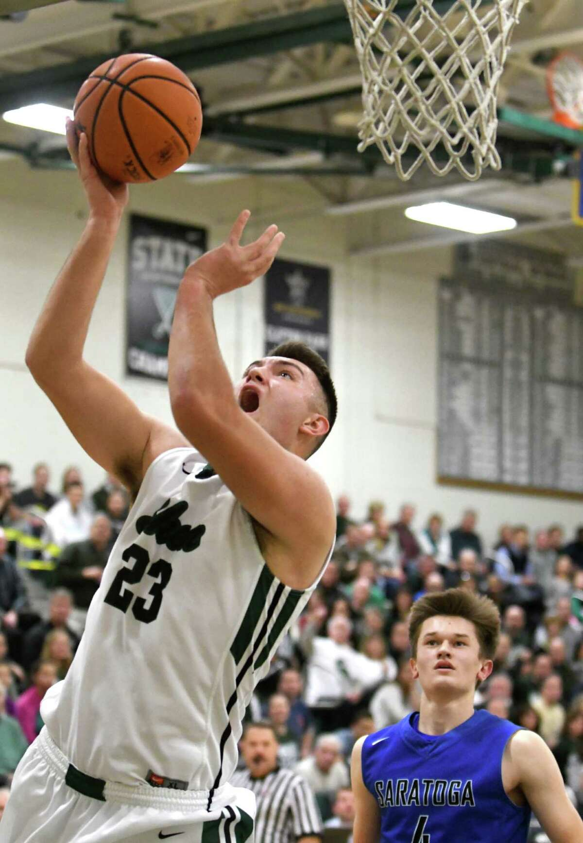Shen's Mike Pizziketti puts up a shot during their boy's high school basketball game against Saratoga on Wednesday Dec. 21, 2016 in Clifton Park, N.Y. (Michael P. Farrell/Times Union)