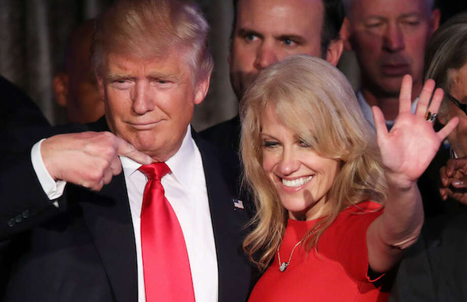 File photo of President Donald Trump and Trump adviser Kellyanne Conway.
