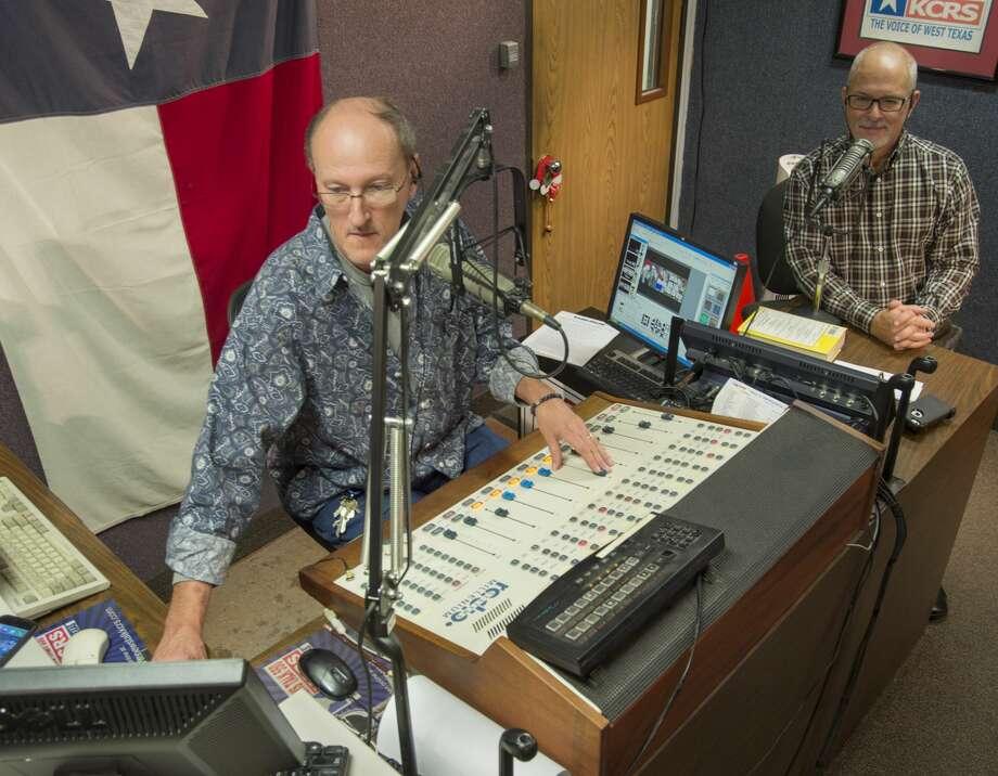 Robert Hallmark, left, and Kurt Verlei, on KCRS Radio, on Dec. 22. Photo: Tim Fischer/Midland Reporter-Telegram