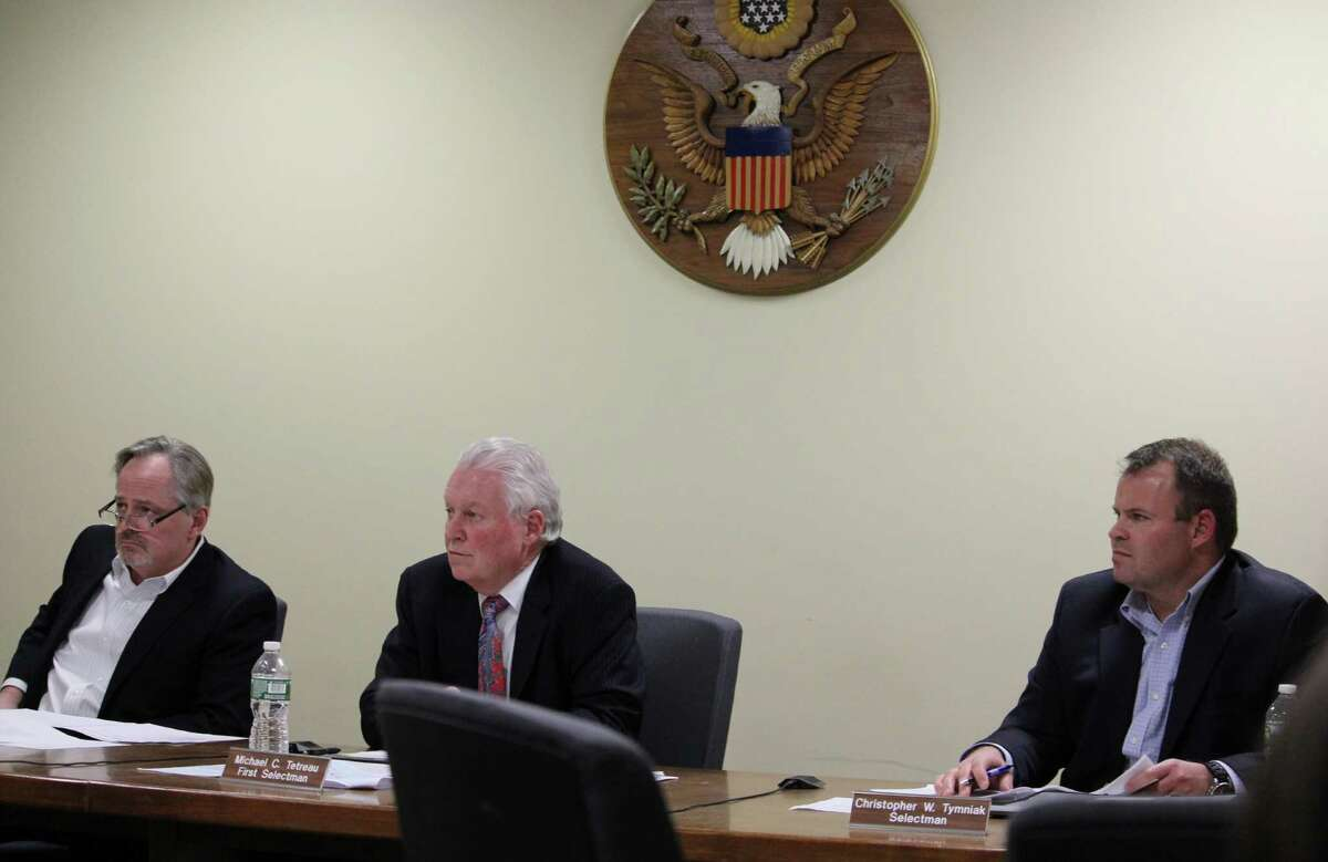 Selectmen (from left) Ed Bateson, Michael Tetreau and Christopher Tymniak at the Board of Selectmen meeting Dec. 21, 2016 in Fairfield Conn.