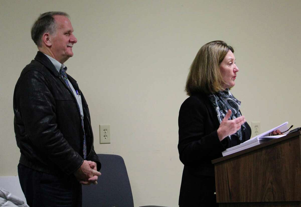 Architect William Silver and Osborn Hill Building Committee Chair Kimberly Marshall presenting at the Board of Selectmen meeting Dec. 21, 2016 in Fairfield Conn.
