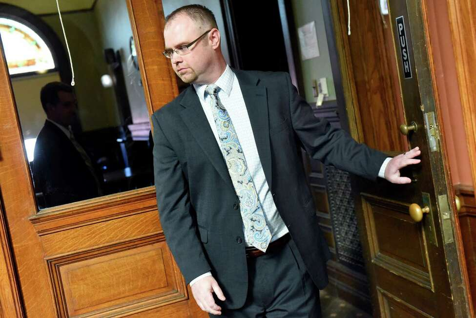 Attorney Shane Hug leaves the courtroom on Friday, Oct. 7, 2016, at Rensselaer County Courthouse in Troy, N.Y. (Cindy Schultz / Times Union)