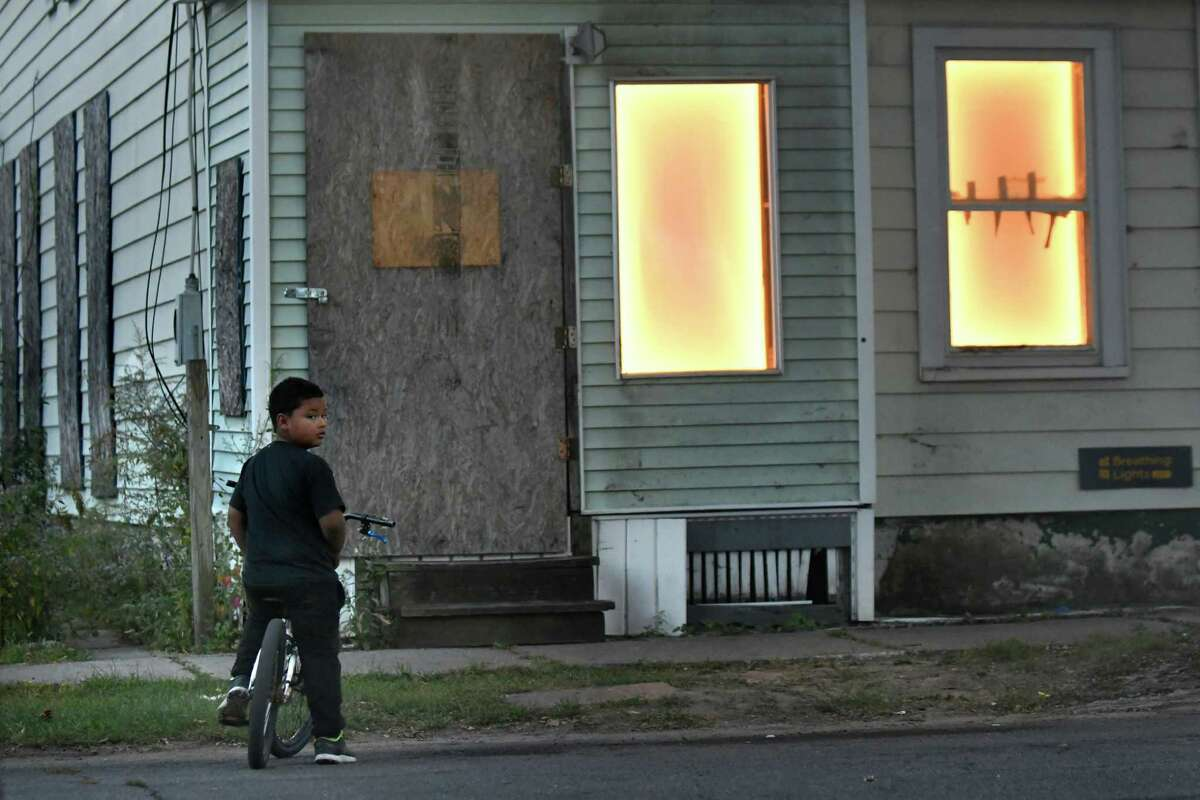 An abandoned house pulses with light on Stanley Street as part of the Breathing Lights project on Thursday, Sept. 29, 2016, Schenectady, N.Y. (Cindy Schultz / Times Union)