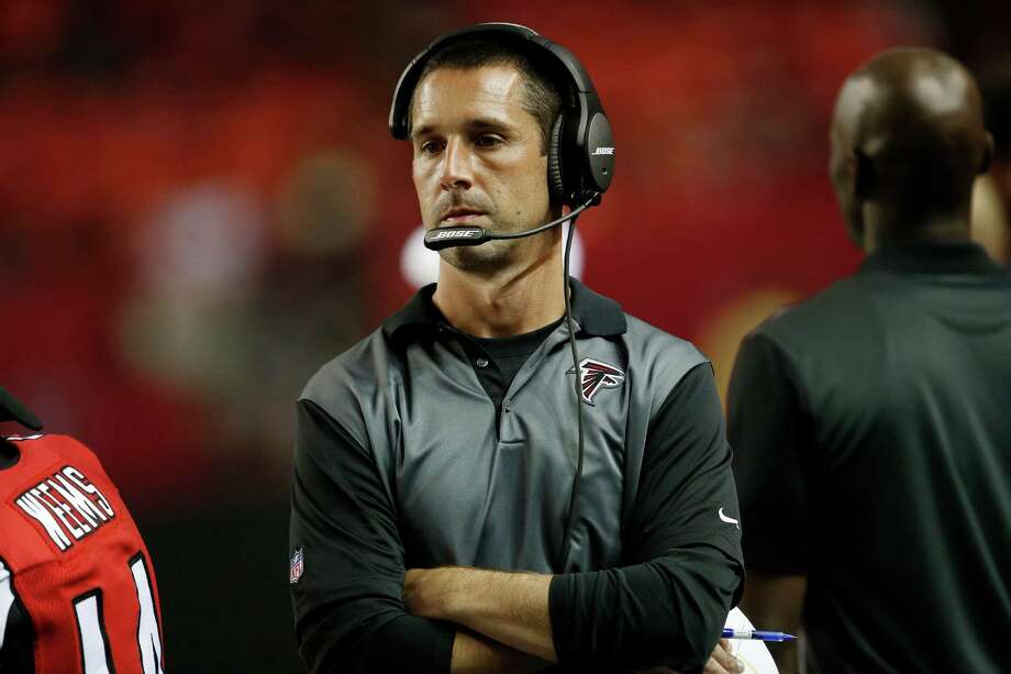 Atlanta Falcons offensive coach Kyle Shanahan walks on the sidelines during the second half of an NFL football preseason game Baltimore Ravens, Thursday, Sept. 3, 2015, in Atlanta. (AP Photo/John Bazemore) Photo: John Bazemore, STF / AP