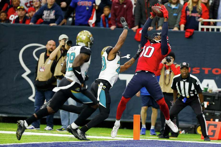 Houston Texans wide receiver DeAndre Hopkins (10) fails to pull in a pass in the end zone as Jacksonville Jaguars cornerback Jalen Ramsey (20) puts on the pressure during the second half of the Houston Texans 21-20 win against the Jacksonville Jaguars at NRG Stadium Sunday, Dec. 18, 2016 in Houston. ( Michael Ciaglo / Houston Chronicle ) Photo: Michael Ciaglo, Staff / © 2016  Houston Chronicle
