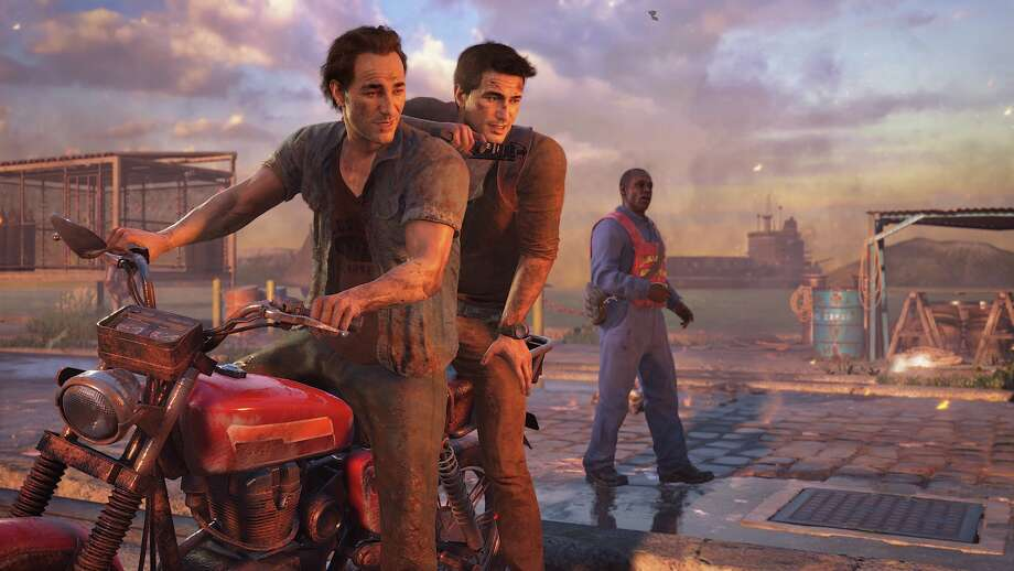 "Naughty Dog's ""Uncharted 4,"" with white people in the foreground."