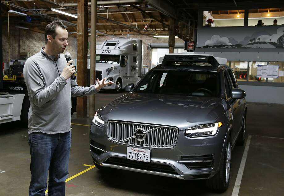 Anthony Levandowski, the former head of Uber's self-driving program, speaks about its driverless car in San Francisco in December. Levandowski is now at the heart of a trade secrets case filed by Alphabet's Waymo business against Uber. Photo: Eric Risberg, Associated Press