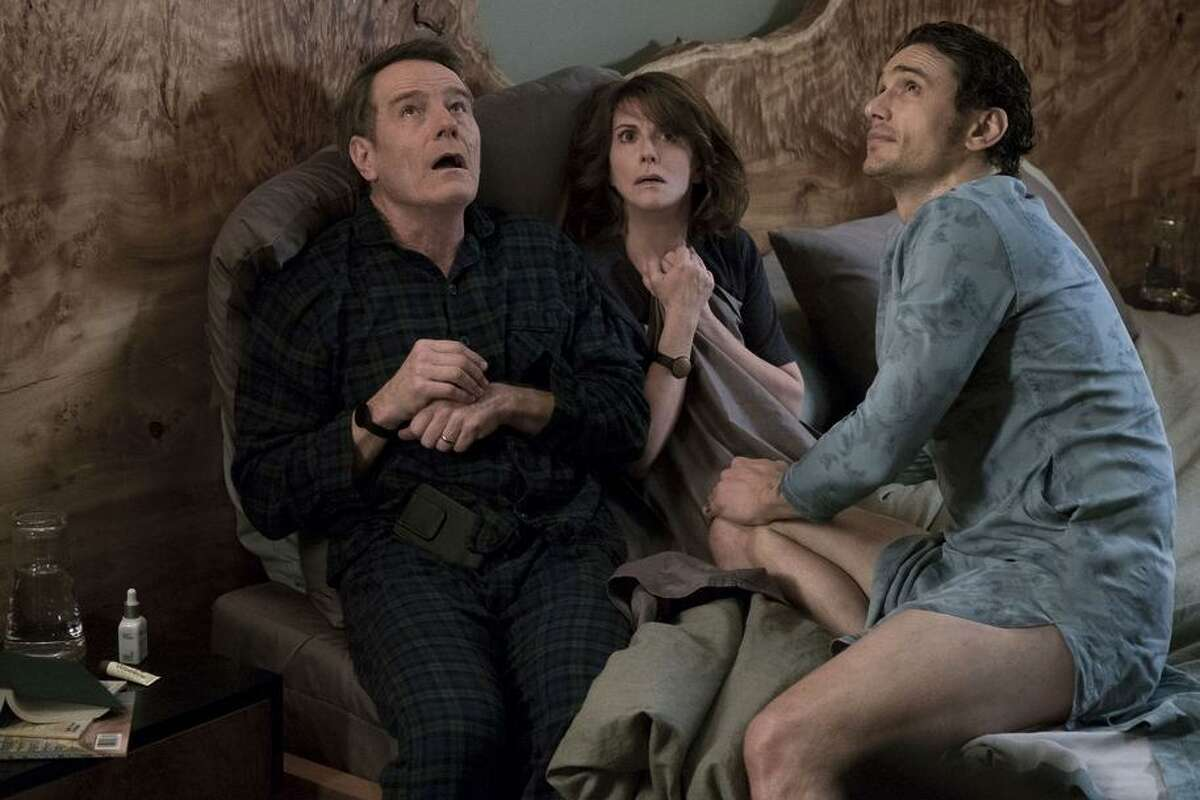 Bryan Cranston and Megan Mullally don't take to their daughter's boyfriend, played by James Franco (right).