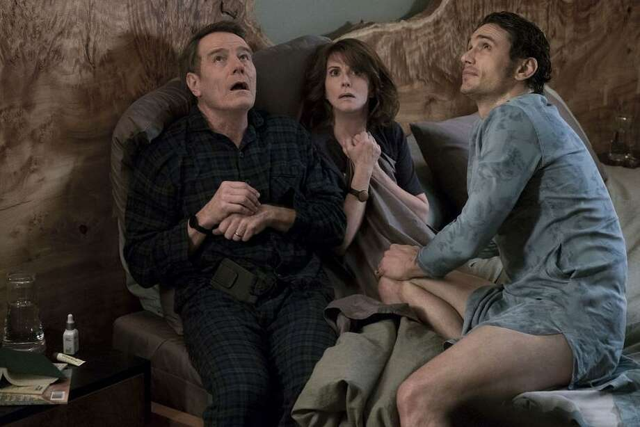 Bryan Cranston and Megan Mullally don't take to their daughter's boyfriend, played by James Franco (right). Photo: Photo Credit: Scott Garfield / Scott Garfield / TM & © 2016 Twentieth Century Fox Film Corporation. All Rights Reserved. Not for sale or duplication.