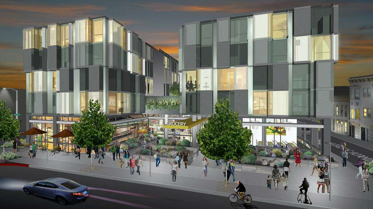 The architect's rendering shows a nighttime view of the Laguna Street entrance to the supermarket for the condominium project at 555 Fulton St.