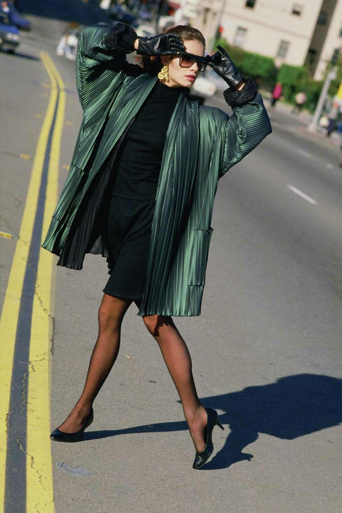 A polyurethane-coated pleated raincoat by San Francisco fashion designer Babette Pinsky, circa early 1980s.