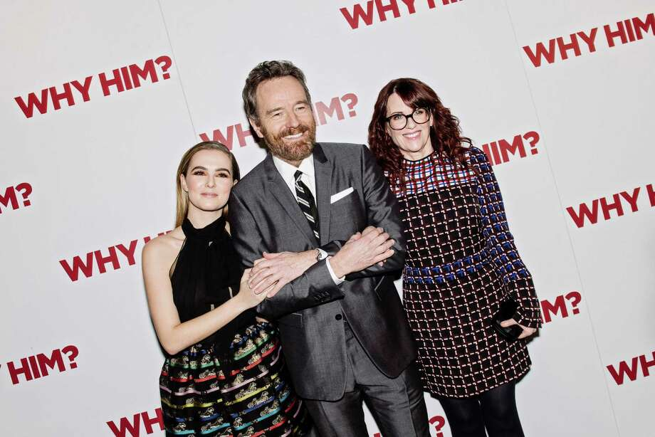 """Zoey Deutch, Bryan Cranston and Megan Mullally at the premiere of the new comedy """"Why Him?"""" at the iPic Fulton Market theater, a luxury movie venue in New York, Dec. 11, 2016. (Nina Westervelt/The New York Times) ORG XMIT: XNYT170 Photo: NINA WESTERVELT / NYTNS"""