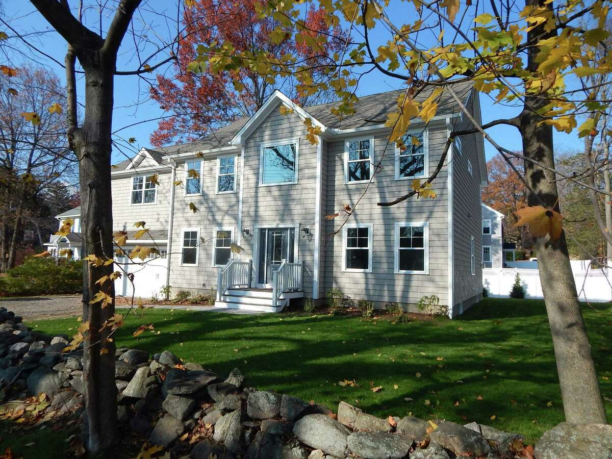 The 3,158-square-foot colonial house at 10 Jackman Avenue in Fairfield sits on almost a quarter-acre on a corner lot.