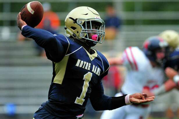 Notre Dame QB Micah Brantley. Football action between New Fairfield and Notre Dame of Fairfield in Fairfield, Conn., on Saturday Oct. 1, 2016.