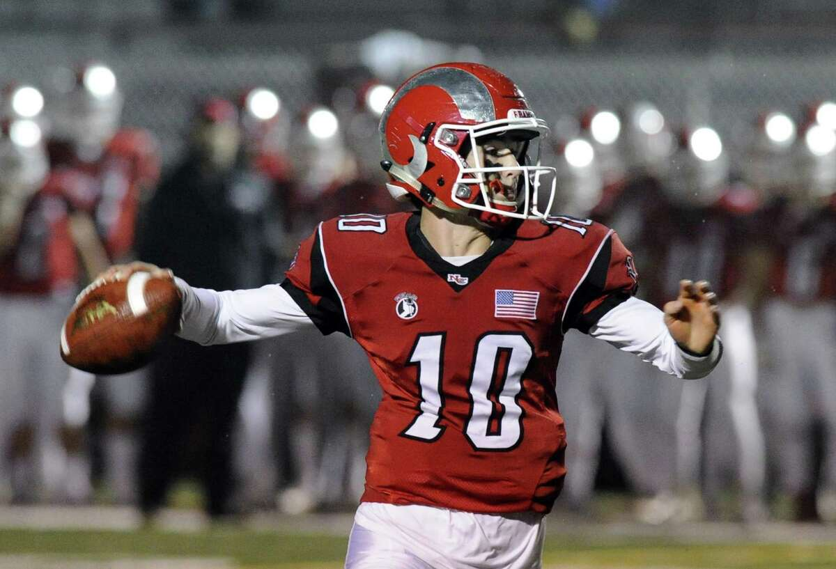 New Canaan QB Drew Pyne. New Canaan defeated Masuk 31-28 in a CIAC Class L football game in New Canaan on Nov. 29, 2016.