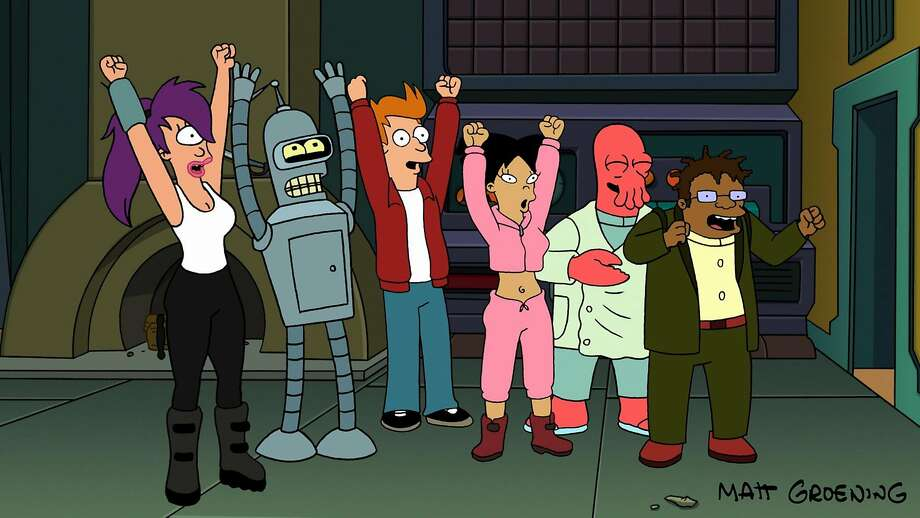 """This image released by Futurama TM and Twentieth Century Fox Film Corp shows the cast of Futurama in """"""""Futurama: Bender's Big Score!"""", set for a straight-to-DVD release on Tuesday Nov. 27, 2007 is as much of an animation accomplishment as the series that spawned it. (AP Photo/Futurama TM/Twentieth Century Fox Film Corp, Matt Groening)**DO NOT CROP NAME OUT OF IMAGE** Photo: MATT GROENING, AP"""