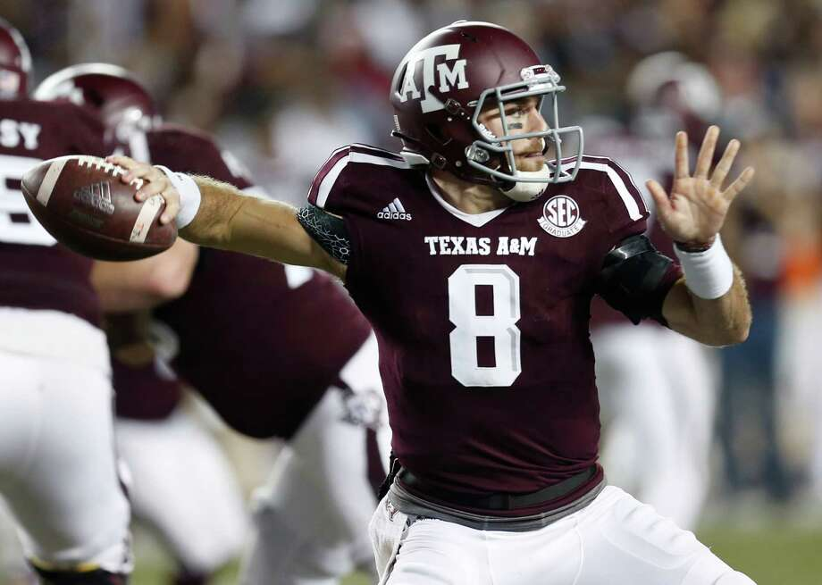 Texas A&M quarterback Trevor Knight (8) throws a pass against LSU during the third quarter of an NCAA football game at Kyle Field on Thursday, Nov. 24, 2016, in Houston. ( Brett Coomer / Houston Chronicle ) Photo: Brett Coomer, Staff / © 2016 Houston Chronicle