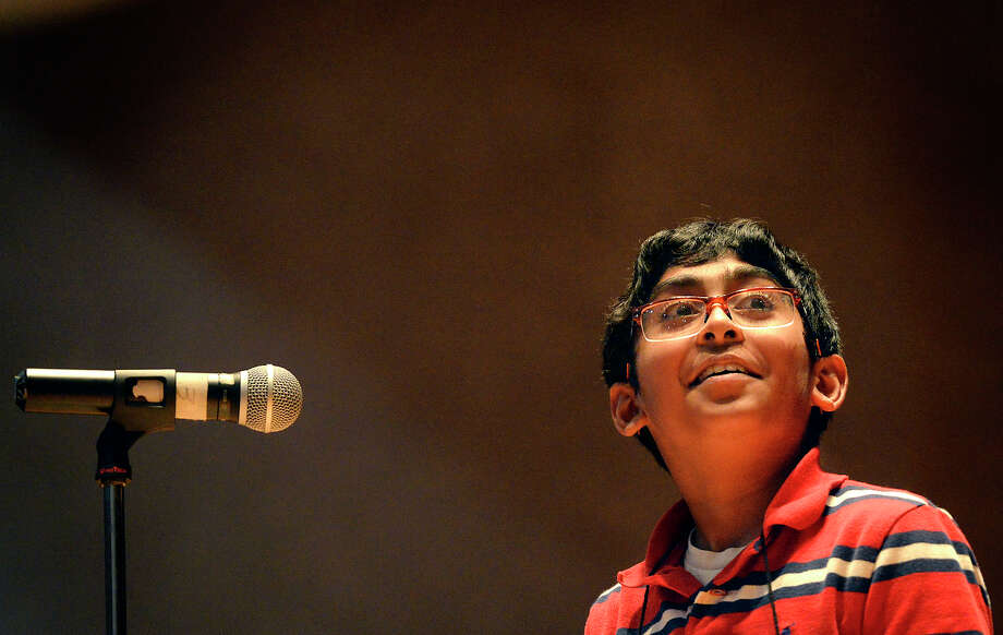 Srikar Chamarthi, representing Fasken Elementary, competes in the Midland Reporter-Telegram's 29th Annual Regional Spelling Bee on Saturday, Feb. 20, 2016, in the Allison Fine Arts Building on the campus of Midland College. James Durbin/Reporter-Telegram Photo: James Durbin