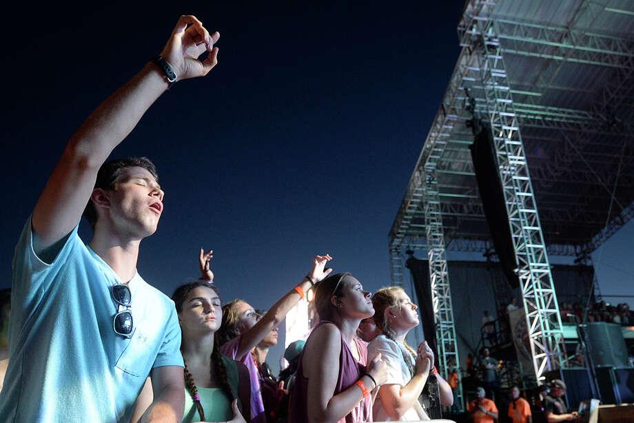 Fans sing along as Jeremy Camp performs during the Rock The Desert music festival Friday, Aug. 5, 2016. James Durbin/Reporter-Telegram Photo: James Durbin