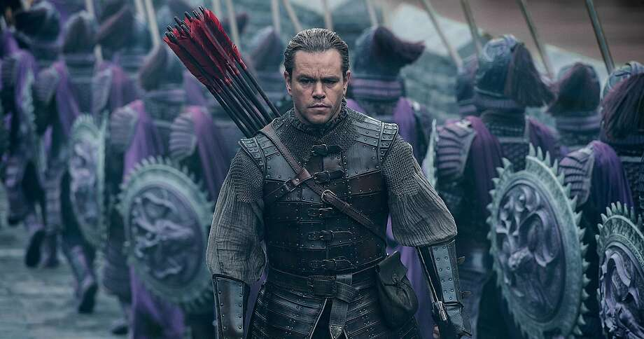 Matt Damon, with an odd accent, becomes a soldier in China, fighting iguana-like monsters the size of a Honda Odyssey. Photo: Universal Pictures, TNS