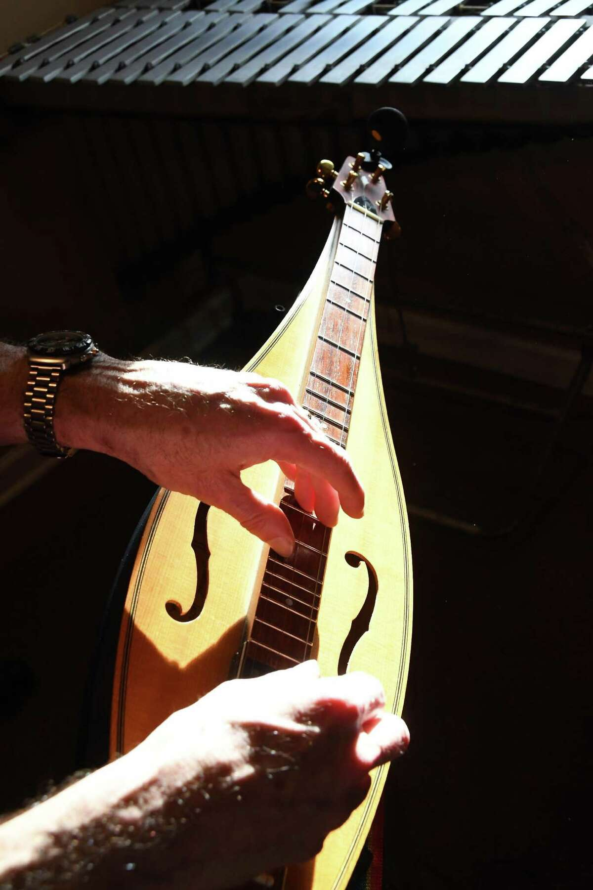 The hands of Sam Edelston playing one of his favorite instruments, an electric dulcimer, in his Greenwich home.