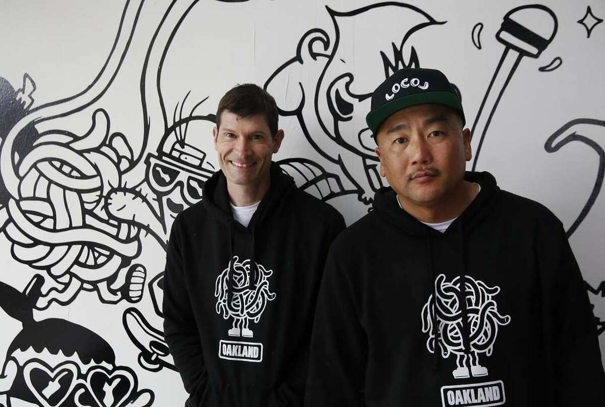 Daniel Patterson and Roy Choi, pictured upon the Oakland location's opening.