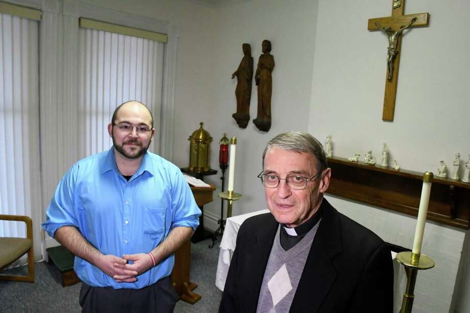 Father Ed Deimeke, right, with aspirant Adam Feisthamel, who is contemplating entering the priesthood, on Thursday, Dec. 22, 2016, at Jogues House of Discernment in Watervliet, N.Y. (Cindy Schultz / Times Union) Photo: Cindy Schultz / Albany Times Union