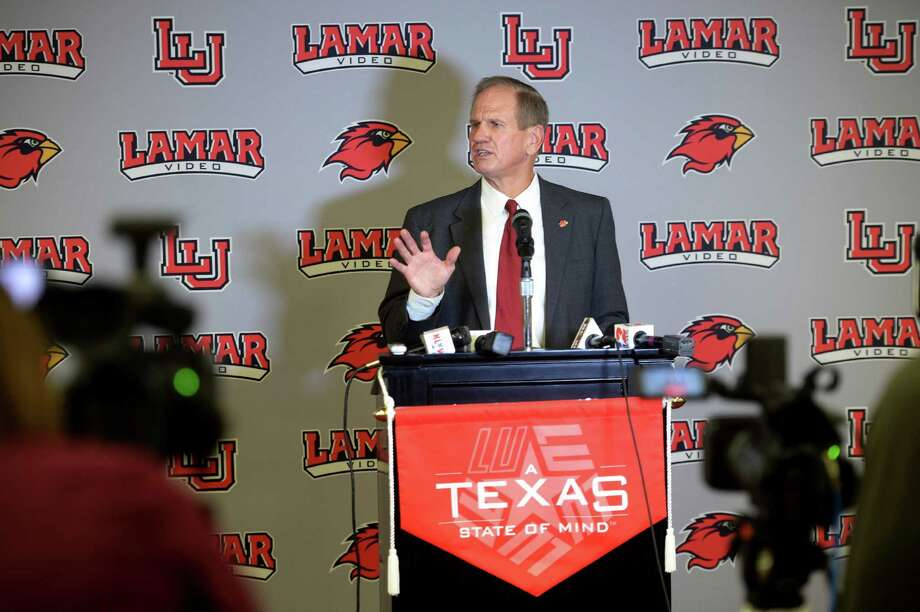 The Cardinal's new head football coach Mike Schultz addresses the media during a press conference on Thursday. Schultz's previous coaching job was at Texas State in 2015 as an offensive coordinator. Schultz said one of his priorities at Lamar is recruiting. A graduate of Sam Houston State, Schultz has been coaching college football since 1979. Photo taken December 22, 2016 Guiseppe Barranco/The Enterprise Photo: Guiseppe Barranco, Guiseppe Barranco/The Enterprise