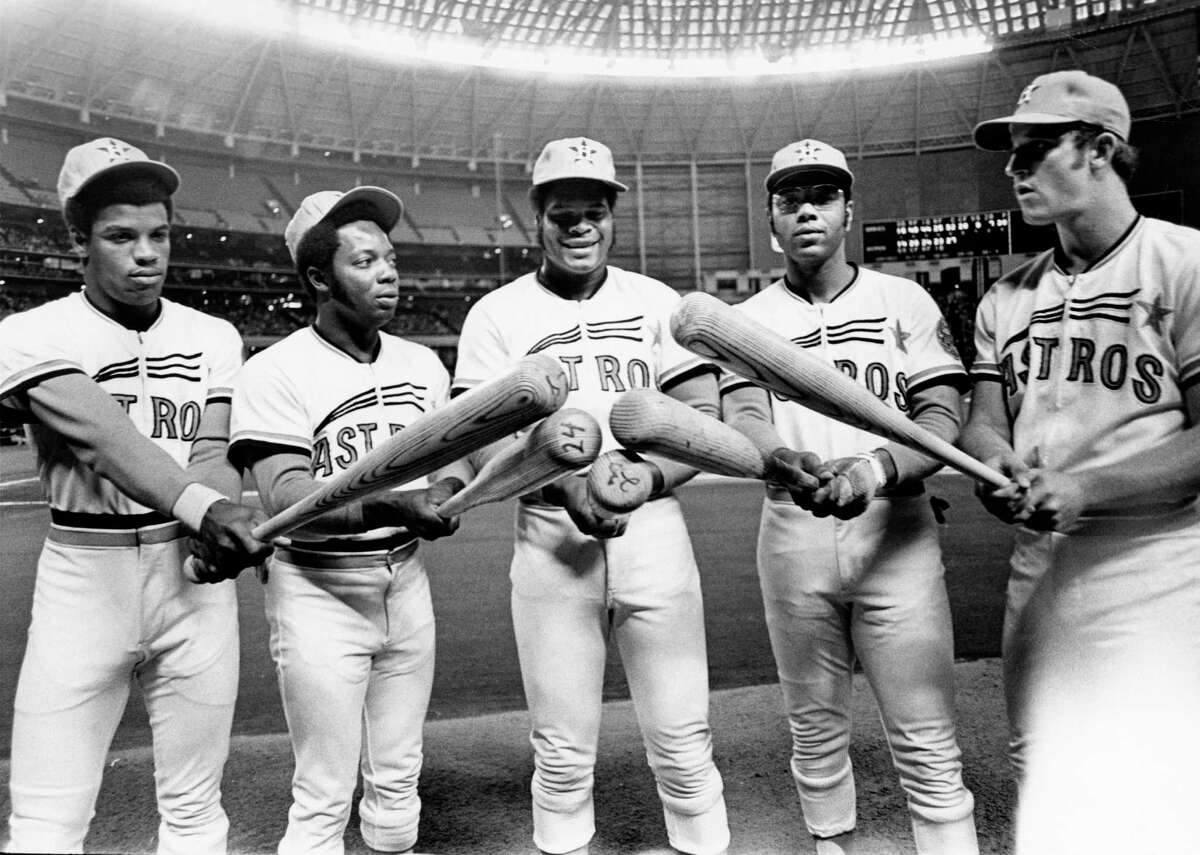 06/29/1972 - Houston Astros power lineup: Cesar Cedeno, Jim Wynn, Lee May, Bob Watson and Doug Rader.