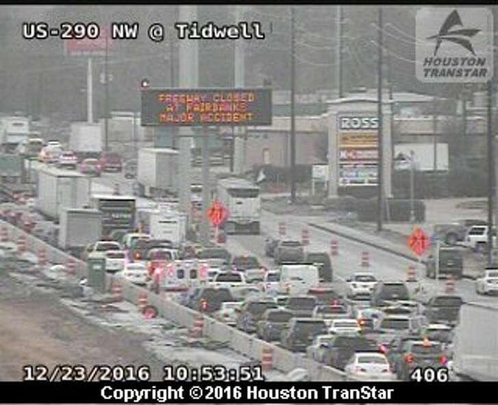 A crash involving a big rig shut down a portion of Hwy. 290 in northwest Houston on Friday, Dec. 23, 2016.