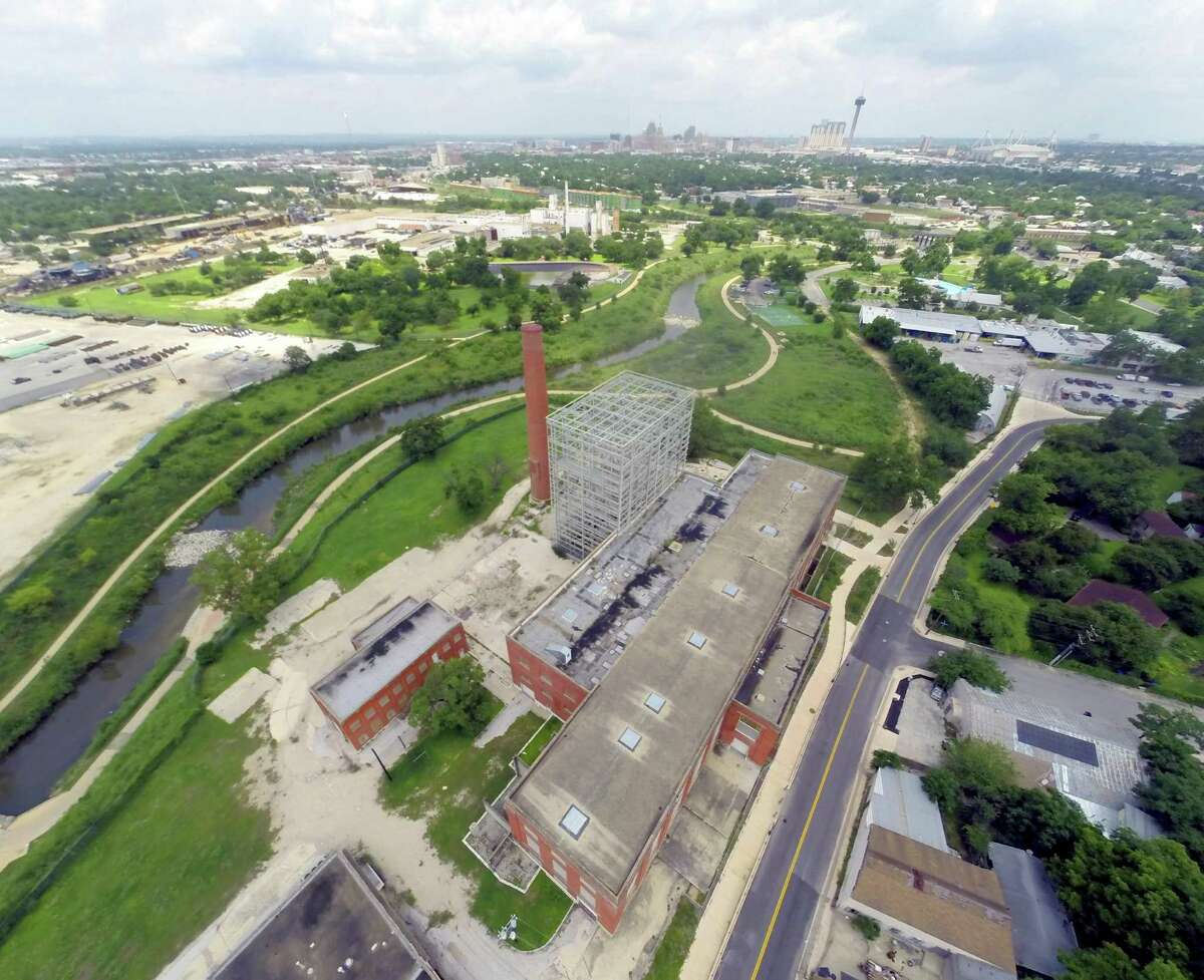 An aerial shot of CPS Energy's former Mission Road power plant. The site, which operated until 2002, is the future home of the $74 million EPIcenter, which hopes to become a hub for energy innovation and education.