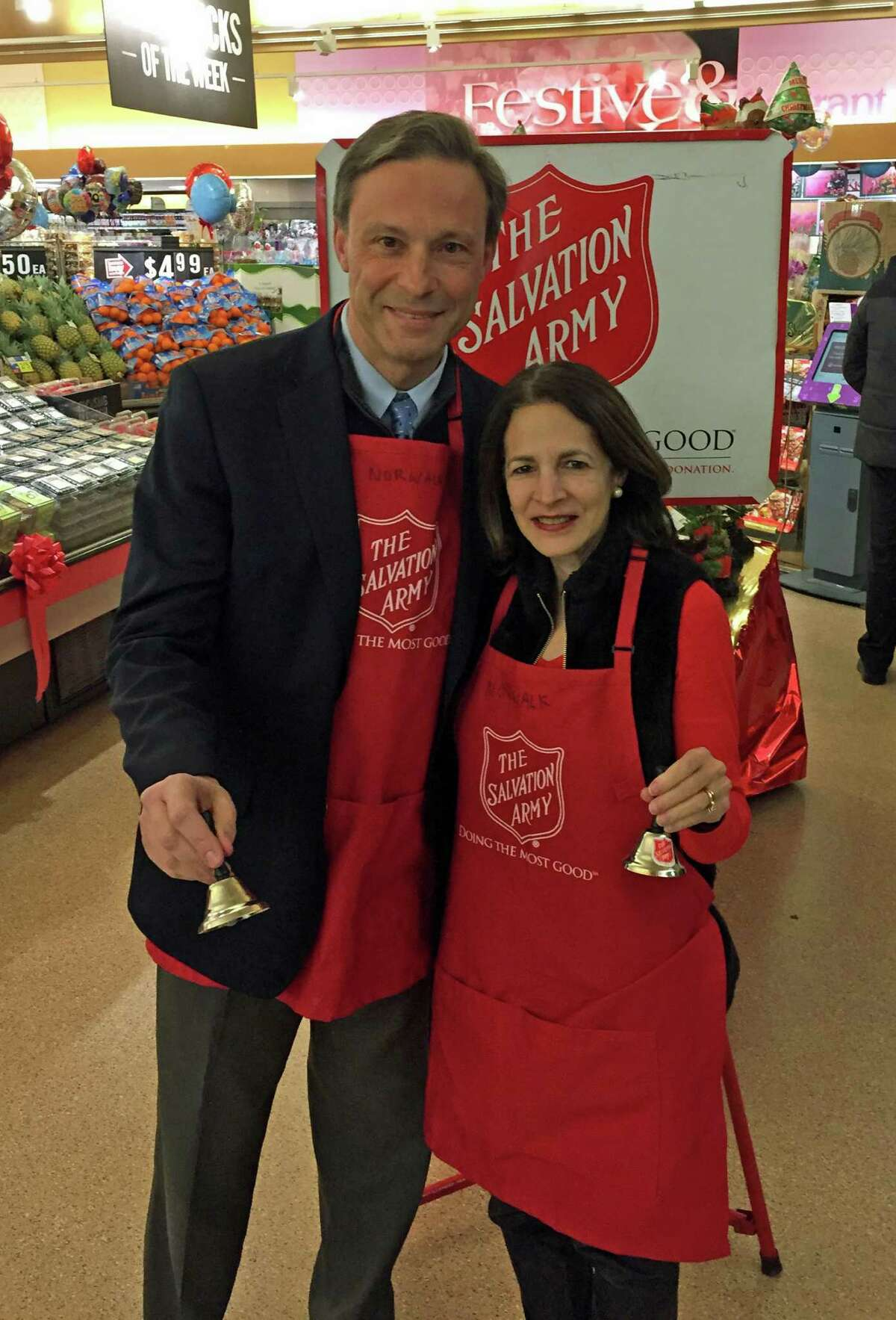State Reps. Gail Lavielle, R-Wilton, and Fred Wilms, R-Norwalk, participated in the Salvation Armys annual Red Kettle Campaign by ringing bells to collect donations at the Stop and Shop on Main Avenue in Norwalk.