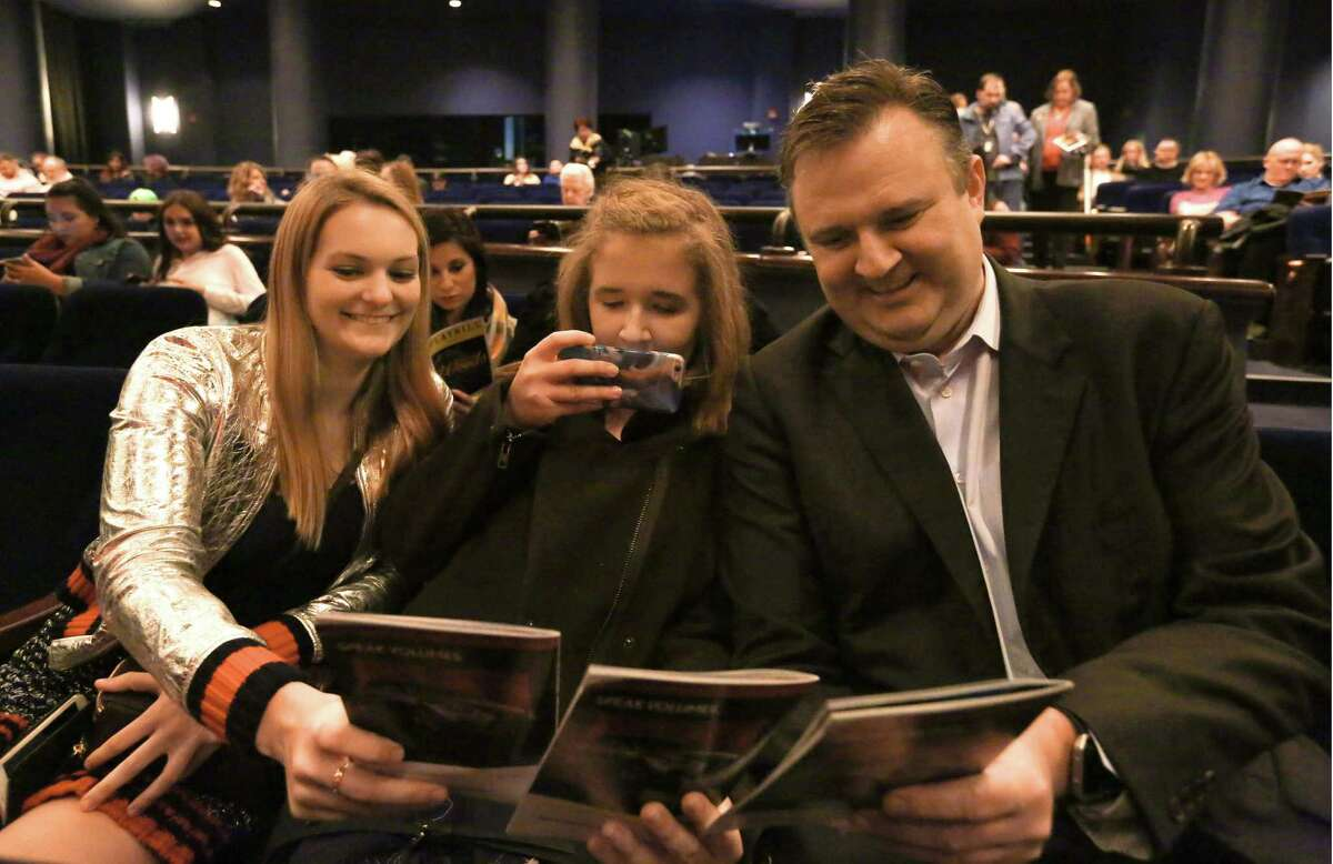 """Rockets GM Daryl Morey joins his daughter Karen, center, and Karen's friend, Sydney Holt, both 17, to watch """"Into the Woods"""" at the Hobby Center."""