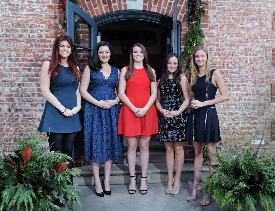 Debutantes from left, Caitlin James,22, of Greenwich, Amanda Chase Miller, 20, of Darien, Alexa Murray, 20, of Greenwich, India Nix, 20, of Greenwich and Ryland Hughes, 18, also of Greenwich, at a Clapboard Ridge Road home in Greenwich, Conn., Friday, Dec. 23, 2016.  These young women will be coming out at the Sixty-second annual International Debutante Ball that will take place Thursday night, December 29, at the Pierre Hotel in New York City. Photo: Bob Luckey Jr., Hearst Connecticut Media / Greenwich Time