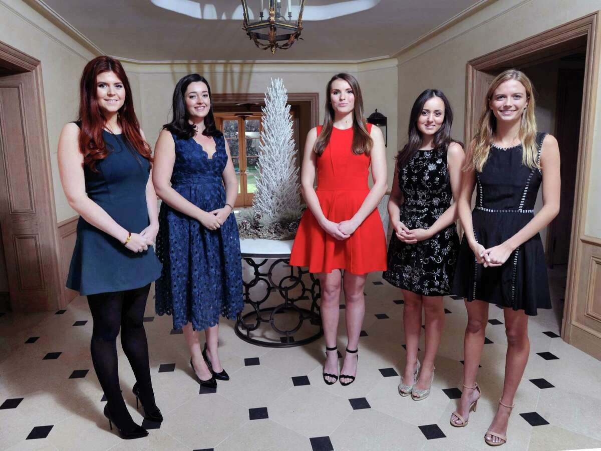 Debutantes from left, Caitlin James,22, of Greenwich, Amanda Chase Miller, 20, of Darien, Alexa Murray, 20, of Greenwich, India Nix, 20, of Greenwich and Ryland Hughes, 18, also of Greenwich, at a Clapboard Ridge Road home in Greenwich, Conn., Friday, Dec. 23, 2016. These young women will be coming out at the Sixty-second annual International Debutante Ball that will take place Thursday night, December 29, at the Pierre Hotel in New York City.