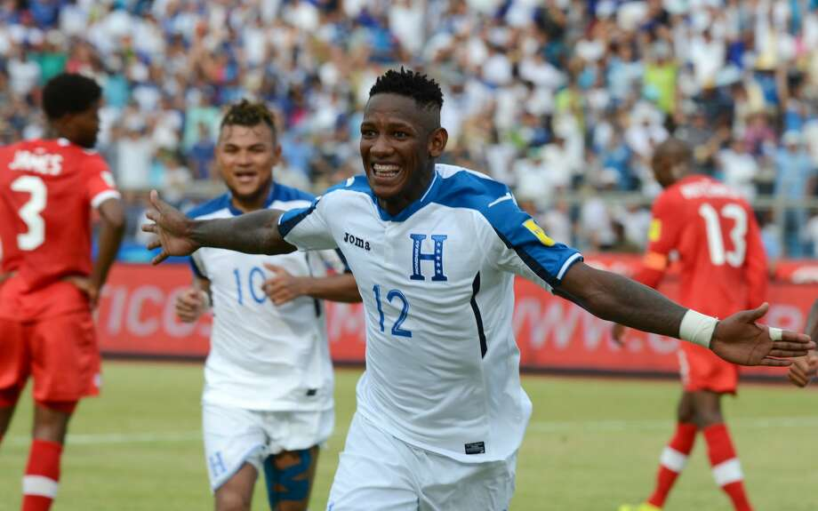 Honduras' Romell Quioto celebrates after scoring against Canada during their 2018 FIFA World Cup qualifiers football match in the Olimpico Metropolitano stadium in San Pedro Sula, Honduras on September 2, 2016. / AFP / ORLANDO SIERRA        (Photo credit should read ORLANDO SIERRA/AFP/Getty Images) Photo: ORLANDO SIERRA/AFP/Getty Images