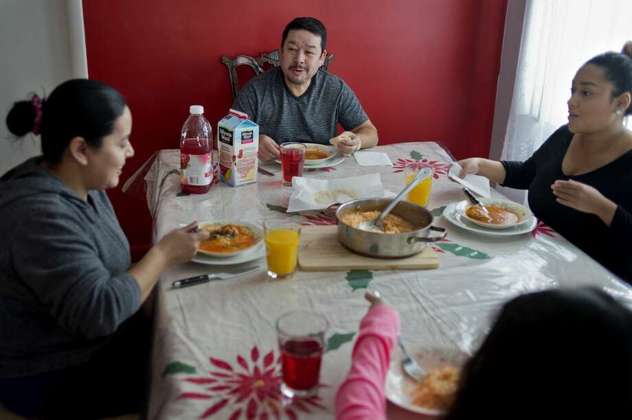 From left: Ruby Yanez, Miguel Yanez, Abby Yanez and 8-year-old Nayla Yanez joke with each other while having lunch together Sunday afternoon. Photo: Brittney Lohmiller/Midland Daily News