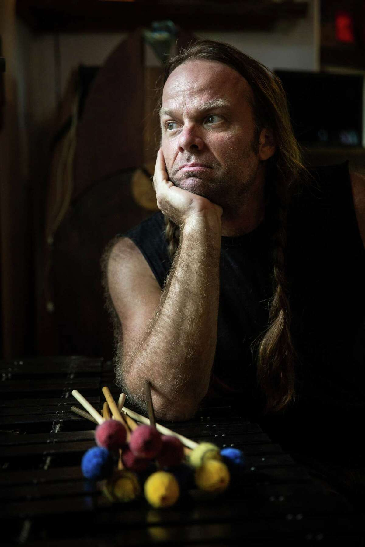 Thor Harris, multi-instrumentalist and artist, at his home in Austin, Texas. His new band,