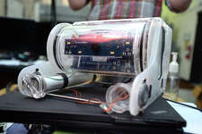 Based off of a kit to build underwater drones, the Lamar Engineering Department's Lion Killer is designed to detect invasive Lion Fish swimming in Texas waters.  Photo taken Wednesday, December 07, 2016 Guiseppe Barranco/The Enterprise