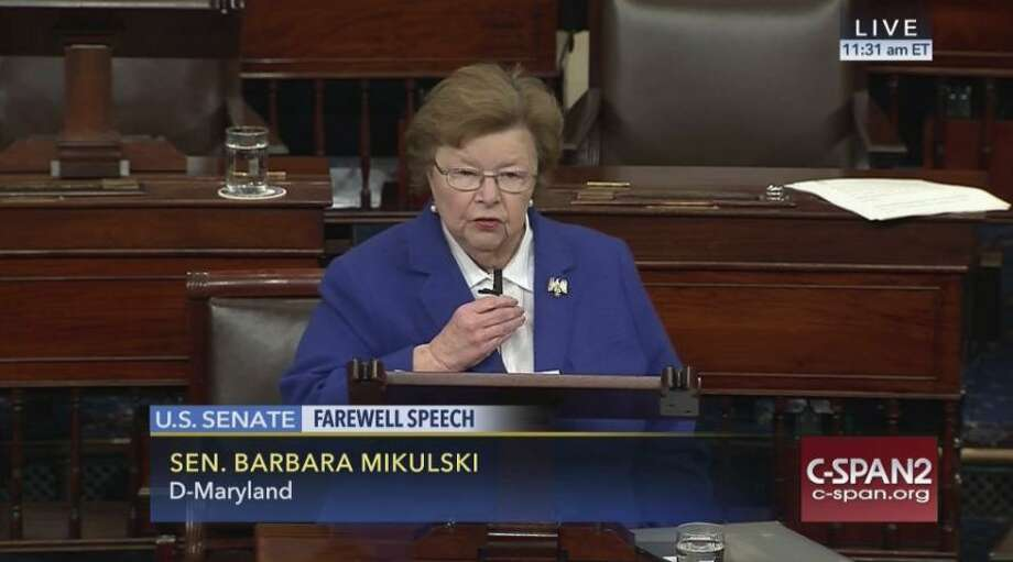 This image provided by C-SPAN2 shows Sen. Barbara Mikulski, D-Md. giving her farewell speech on the Senate floor on Capitol Hill in Washington on Dec. 7. after 24 years in the Senate. Photo: /Associated Press / C-SPAN2