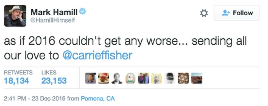 "When news broke that ""Star Wars"" actress Carrie Fisher suffered a massive heart attack Friday on a plane from London to Los Angeles, many took to Twitter to offer support and show concern. Photo: Twitter Screen Capture"