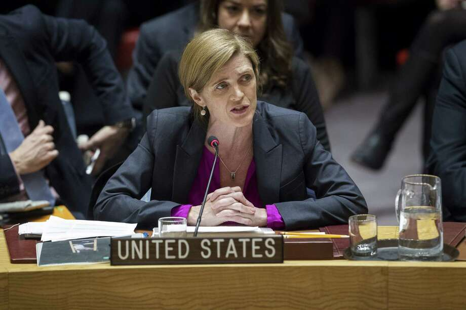 In this photo provided by the United Nations, Samantha Power, U.S. Ambassador to the United Nations, addresses the United Nations Security Council, after the council voted on condemning Israel's settlements in the West Bank and east Jerusalem, Friday, Dec. 23, 2016 at United Nations Headquarters.  In a striking rupture with past practice, the United States allowed the U.N. Security Council on Friday to condemn Israel. (Manuel Elias/The United Nations via AP) ORG XMIT: NYR106 Photo: Manuel Elias / The United Nations
