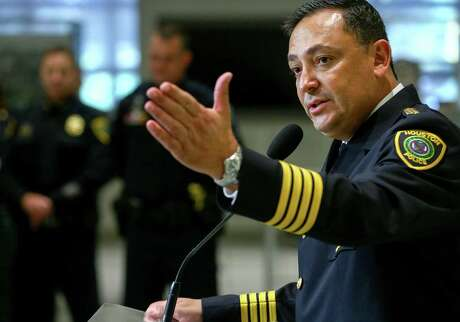 Houston Police Chief Art Acevedo speaks during a press conference after he was sworn in Nov. 30, 2016, in Houston. ( Jon Shapley / Houston Chronicle )