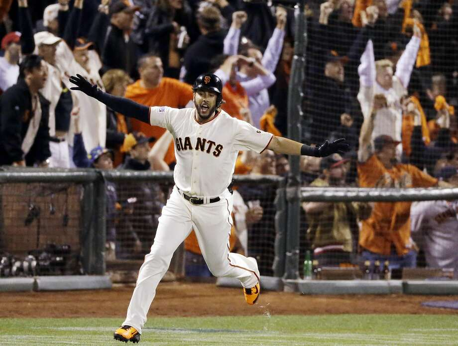 San Francisco Giants' Michael Morse celebrates a home run against the St. Louis Cardinals during the eighth inning of Game 5 of the National League baseball championship series Thursday, Oct. 16, 2014, in San Francisco. (AP Photo/Jeff Chiu) Photo: Jeff Chiu, Associated Press